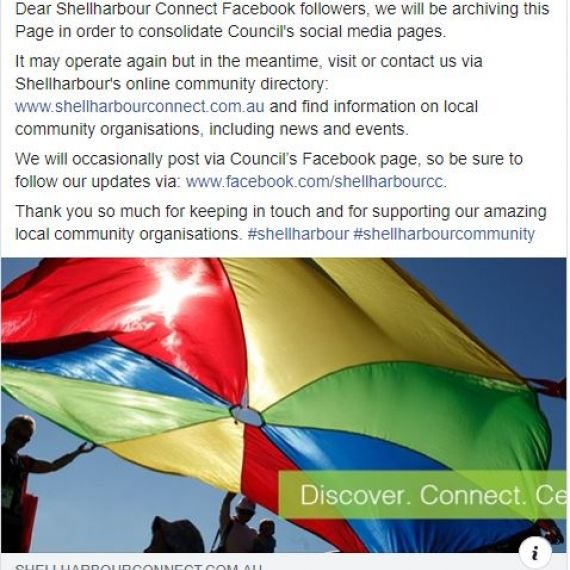 Shellharbour Connect Facebook Page - Archived