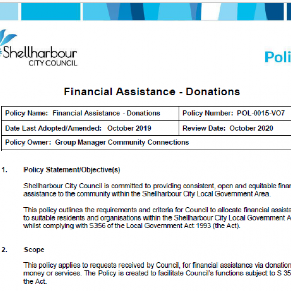 Shellharbour City Council financial assistance/donations